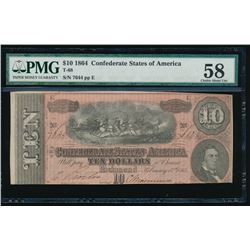 1864 $10 Confederate States of America Note PMG 58