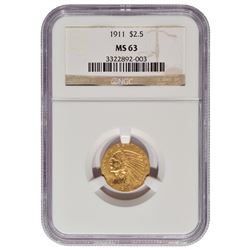 1911 $2.5 Indian Head Quarter Eagle Gold Coin NGC MS63