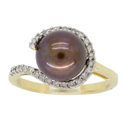 14KT Yellow Gold 8.37mm Chocolate Pearl and Diamond Ring