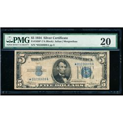 1934 $5 Silver Certificate Star Note PMG 20