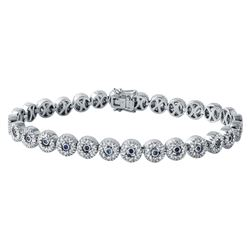 14KT White Gold Blue Sapphire and Diamond Bracelet