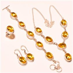 4 Piece Complete Yellow Sapphire Jewelry Set