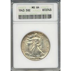 1943 Walking Liberty Half Dollar Coin ANACS MS64