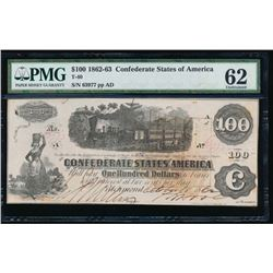 1862-63 $100 Confederate States of America Note PMG 62