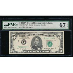 1963A $1 Atlanta Federal Reserve Star Note PMG 67EPQ