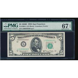 1950E $5 San Francisco Federal Reserve Note PMG 67EPQ
