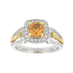 18KT Two Tone Gold 1.26ctw Fancy Orangy Brown Diamond Ring