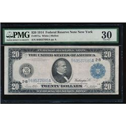 1914 $20 New York Federal Reserve Note PMG 30
