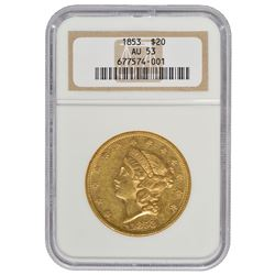 1853 $20 Liberty Head Double Eagle Gold Coin NGC AU53