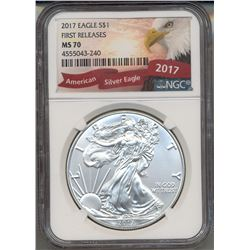2017 $1 American Silver Eagle Coin NGC MS70