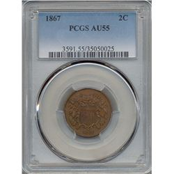1867 Two Cent Coin PCGS AU55