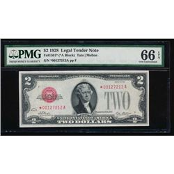 1928 $2 Legal Tender Star Note PMG 66EPQ