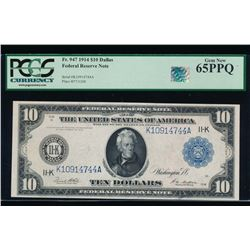 1914 $10 Dallas Federal Reserve Note PCGS 65PPQ