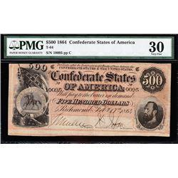 1864 $500 Confederate States of America Note PMG 30