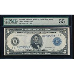1914 $5 New York Federal Reserve Note PMG 55