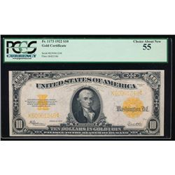 1922 $10 Gold Certificate PCGS 55