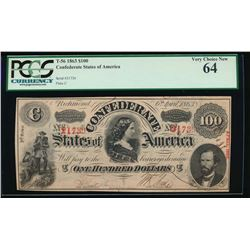 1863 $100 Confederate States of America Note PCGS 64