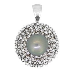 14KT White Gold 13mm Tahitian Pearl and Diamond Pendant