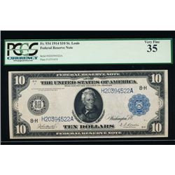 1914 $10 St Louis Federal Reserve Note PCGS 35