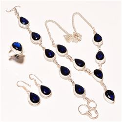 Blue Sapphire 4 Piece Jewelry Set