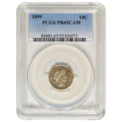 1899 Barber Dime Coin PCGS PR65CAM