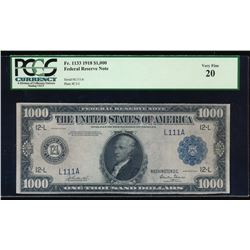 1918 $1000 San Francisco Federal Reserve Note PCGS 20 Very Fine