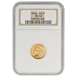 1908 $2.5 Indian Head Quarter Eagle Gold Coin NGC MS62