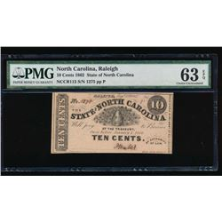 1862 Ten Cent North Carolina Obsolete Note PMG 63EPQ