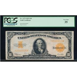 1922 $10 Gold Certificate PCGS 35