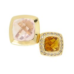 18KT Yellow Gold Citrine, Rose Quartz and Diamond Ring