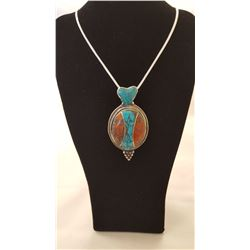 Turquoise Red Coral And Blue Lapis Lazuli Pendant with Chain