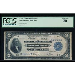 1918 $2 Philadelphia Federal Reserve Bank Note PCGS 20
