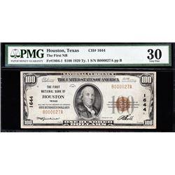 1929 $100 Houston National Note PMG 30