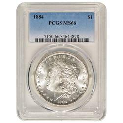 1884 $1 Morgan Silver Dollar Coin PCGS MS66
