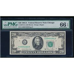 1981A $20 Chicago Federal Reserve Note PMG 66EPQ