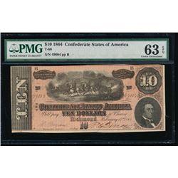 1864 $10 Confederate States of America Note PMG 63EPQ