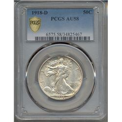 1918-D Walking Liberty Half Dollar PCGS AU58
