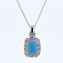 14KT White Gold 2.10ct Turquoise and Diamond Pendant with Chain