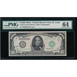 1934A $1000 St Louis Federal Reserve Note PMG 64