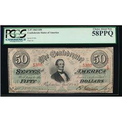 1863 $50 Confederate States of America Note PCGS 58PPQ