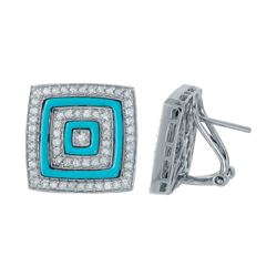 14KT White Gold 1.06ctw Turquoise and Diamond Earrings