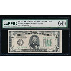 1934D $5 St Louis Federal Reserve Note PMG 64EPQ