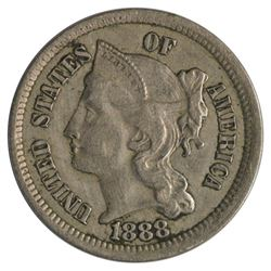 1888 Three Cent Nickel Coin