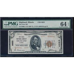 1929 $5 Highland National Note PMG 64EPQ