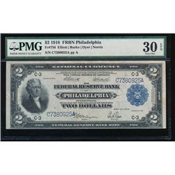 1918 $2 Philadelphia Federal Reserve Bank Note PMG 30EPQ