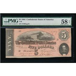 1864 $5 Confederate States of America Note PCGS 58EPQ