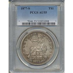 1877-S $1 Trade Dollar Coin PCGS AU55