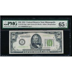 1934 $50 Minneapolis Federal Reserve Note PMG 65EPQ