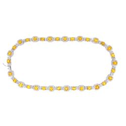 14KT White Gold 43.00ctw Yellow Sapphire and Diamond Necklace