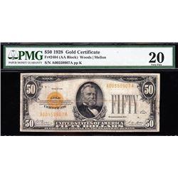 1928 $50 Gold Certificate PMG 20